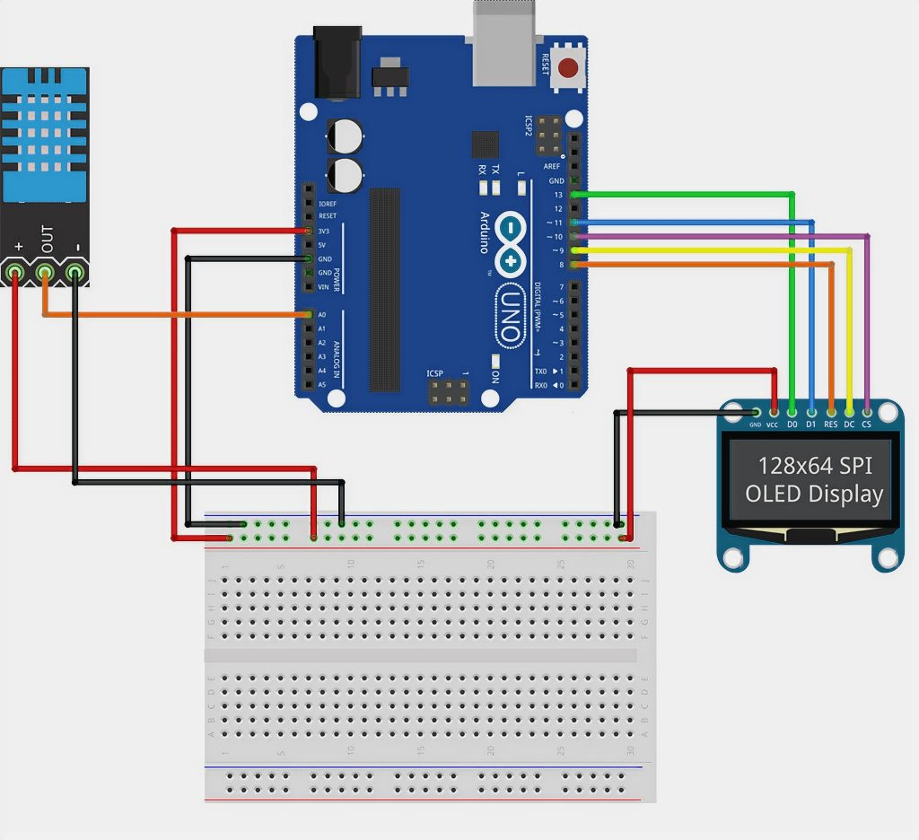 Connecting an OLED-screen via SPI to an Arduino