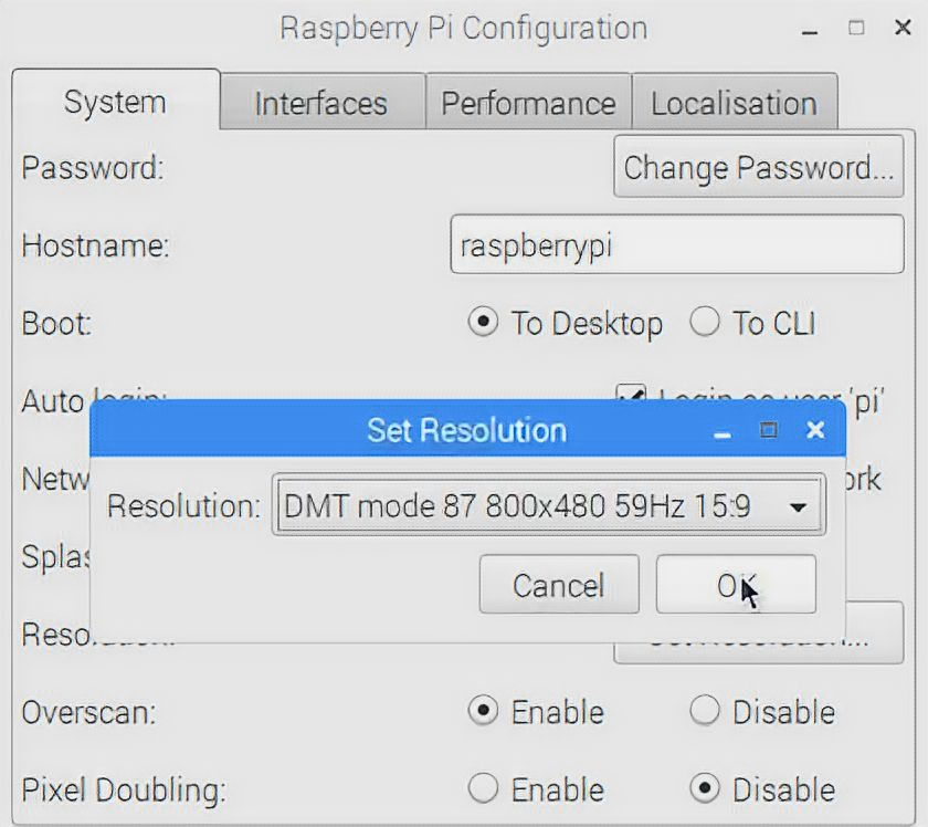 Option Set Resolution on Raspberry Pi