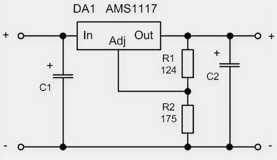 AMS1117 Wiring Diagram with Resistor