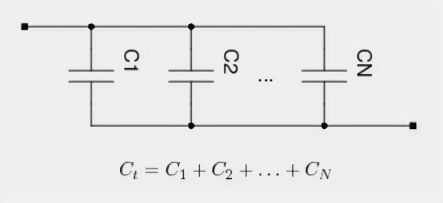 Parallel connected capacitors