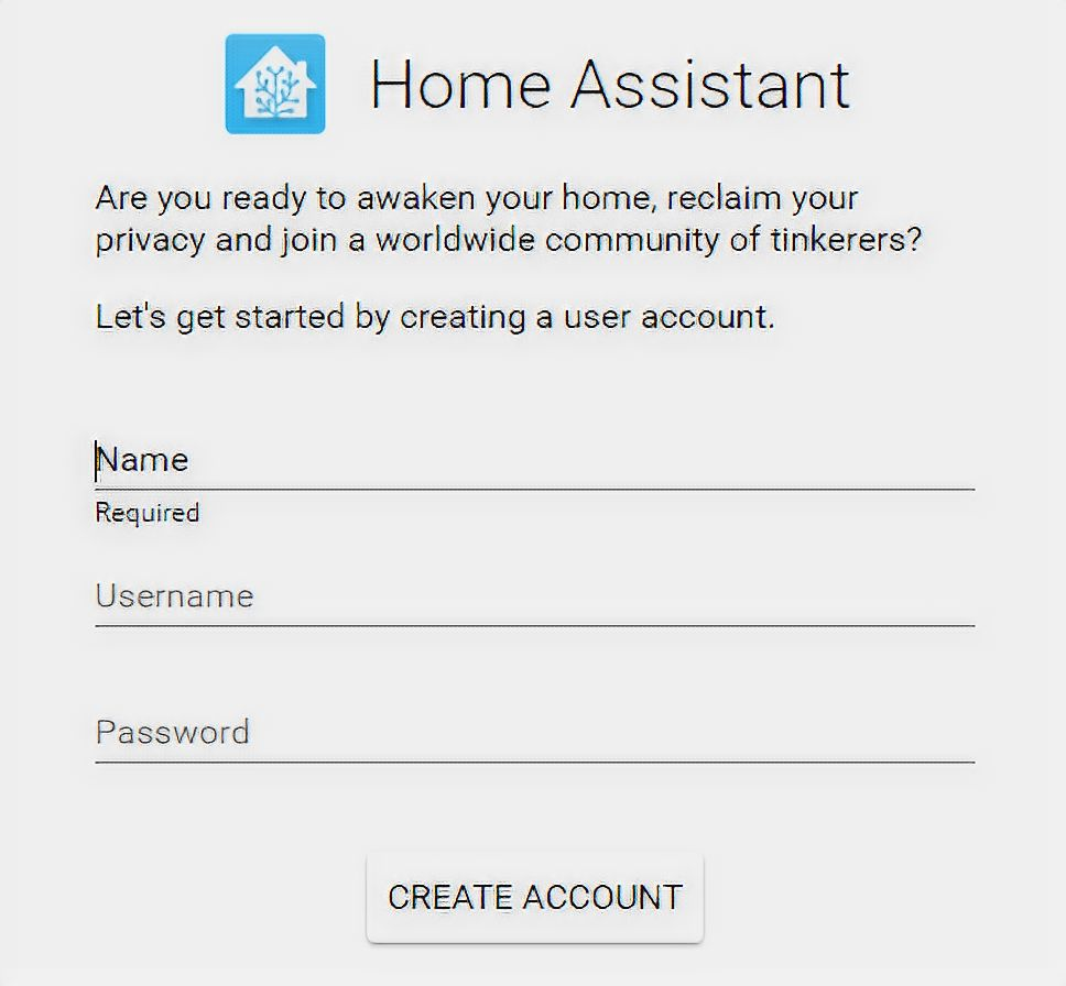 HASS io creating account