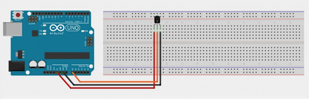 Layout appearance LM35 and Arduino