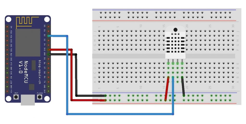 Connecting the DHT22 Sensor to the NodeMcu ESP8266 Module