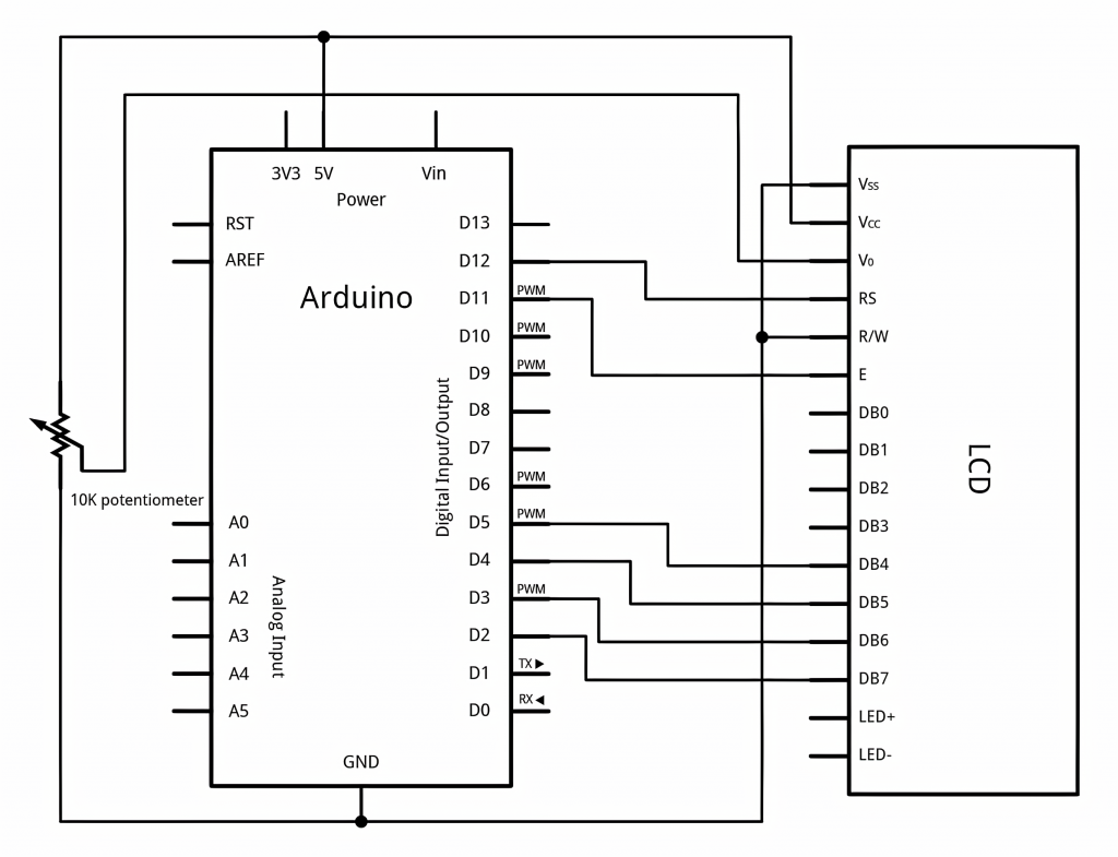 Diagram of LCD Connection to Arduino Board Without I2C