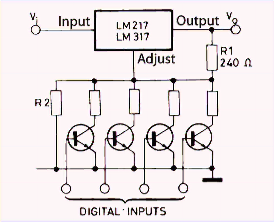 Digital voltage control on the LM317T