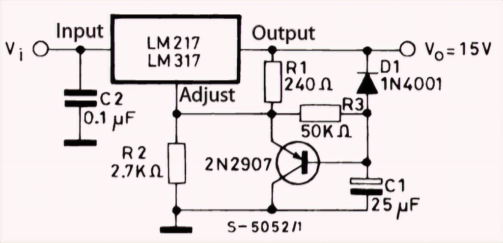 LM317T soft-start circuit