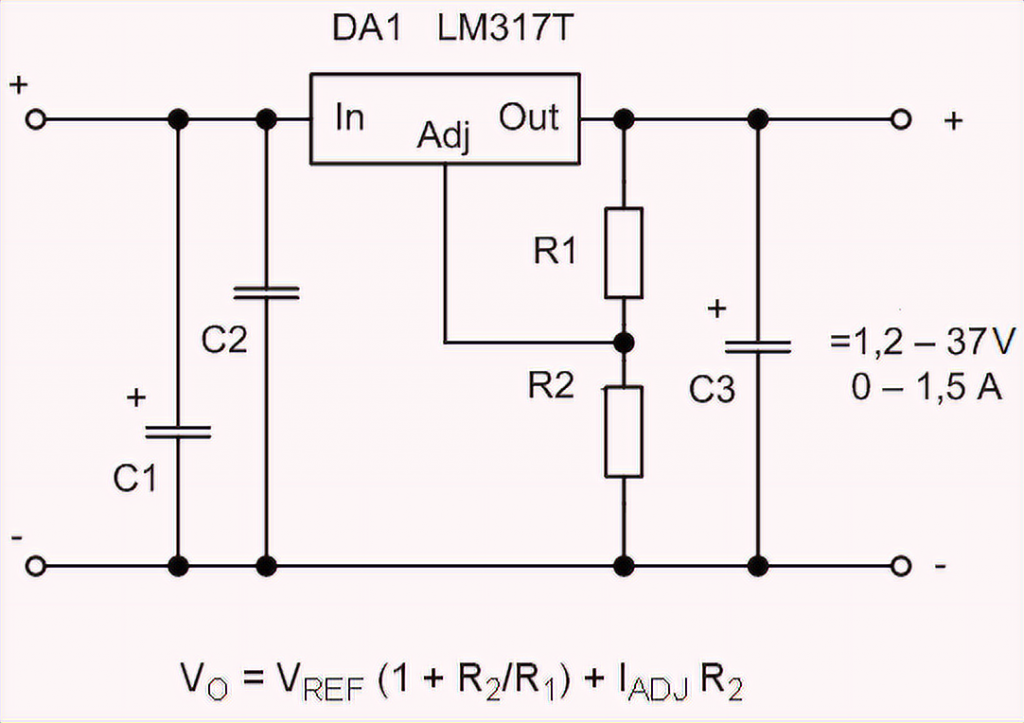 LM317T simple wiring diagram