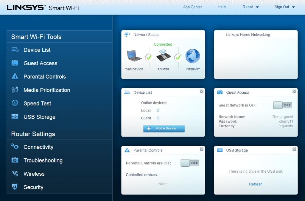 Linksys EA6300 - main settings page
