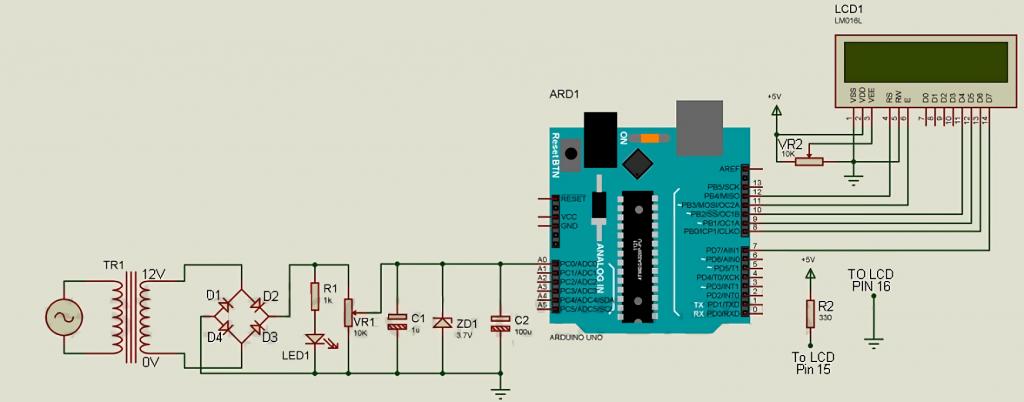AC Voltage Measurement Using Arduino Scheme