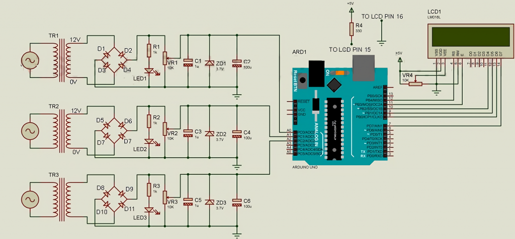 The circuit for measuring three-phase AC voltage